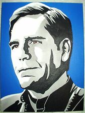 Canvas Painting Star Trek Scott Bakula Captain Archer B&W Art 16x12 inch Acrylic