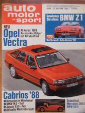 AUTO MOTOR UND SPORT 23.4. - 9/1988 Opel Vectra Jaguar XJS Peugeot 405 Mercedes