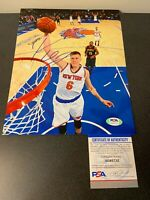Kristaps Porzingis Knicks Mavericks Autographed Signed 8X10 Photo PSA/DNA COA