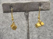 "Shiny Gold Tone Tiny 3/16"" Double Dice Drop Dangle Earrings Lucky Casino NEW"