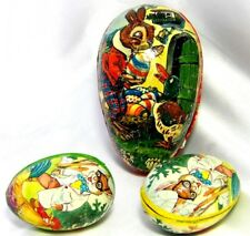 Western Germany Paper Mache Easter Eggs Lot of 3 Rabbits Duck Roosters