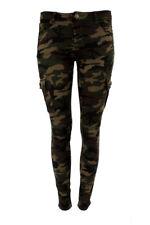Womens Stretch Combat Jeans Skinny Fit Khaki Camo Cargo  SJ220