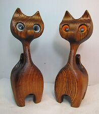 Mid Century Modern Pair Hand Crafted Wooden Cats Witco Tiki ornate detailing McM