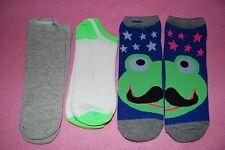 3 Pair LOT GIRLS Side by Side DESIGN SOCKS Fits Shoe Size 4-10 FROG w MUSTACHE