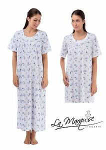 LADIES FULL LENGHT DOTS/ FLORAL SHORTSLEEVE COTTON JERSEY NIGHTDRESS S-XXL25363L