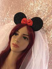 Minnie Mouse Bride Set, Ears Veil Hen Do Fancy Dress Accessory Disney Princess