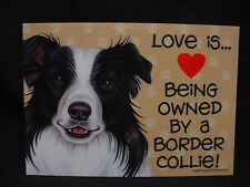Love Is (heart) Being Owned by a Border Collie dog Sign magnet puppy Made In Usa