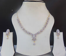 Indian Bridal CZ AD Ethnic Gold Silver Set Bollywood Necklace Earrings Jewelry