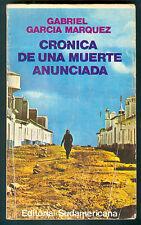GABRIEL GARCIA MARQUEZ  BOOK CRONICA DE UNA MUERTE ANUNCIADA 1° Ed.1981