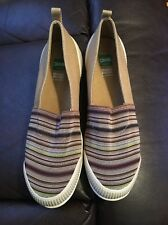 Cougar Sparkle Slip-On Canvas Sneakers Tan /Multi-Striped; Sz. 6.5M