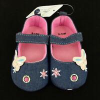 Pram Shoes , Newborn Baby Girl Infant Blue Shoes Toddler PreWalker Denim  0-12
