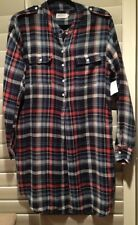 NEW VELVET GABRIELLE03  BLUE PLAID LONG SLEEVE TUNIC SHIRT DRESS $149