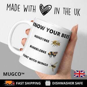 KNOW YOUR BEES C*NT Adult Rude Funny Gift Tea Coffee Mug Cup Joke Gift Work