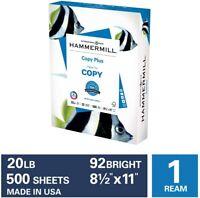 Hammermill Copy Plus 20lb Paper, 8.5 x 11, 1 Ream, 500 Total 8.5x11, White