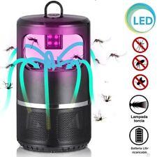 Zanzariera Elettrica Aspirante Luce UV LED Anti Zanzare Insetti Batteria USB