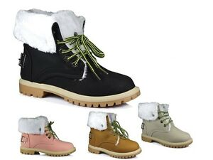 WOMENS WINTER WARM BUKLE HI LACE UP COLLAR FUR LINED LADIES ANKLE BOOT SIZE 3-8