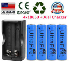 4pc BRC 18650 Battery Li-ion 3.7V Rechargeable Batteries +Dual Charger for Torch