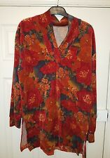 quirky red floral velvet tunic top size 16 18 boho hippie pixie