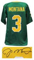 Joe Montana Signed Green Throwback Custom College Football Jersey