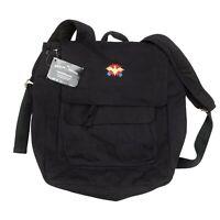 Carolina Sewn Peach Skin Backpack Knapsack Black Cotton Embroidered Eagle C373