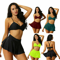 Women's Two Piece Bikini Sets Swimwear Sexy V Plunge Bra Ruffle A Skirt Knicker