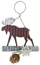 MOOSE Silhouette with Pinecone Metal Christmas Ornament by Sunset Vista Designs