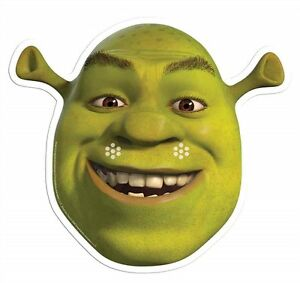 Shrek Green Ogre Single Card Party Fun Face Mask - Mike Myers
