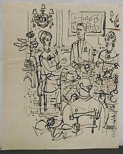 Dessin Original Encre Claude Schürr (1921-2014) Le Diner 1960 SHU5