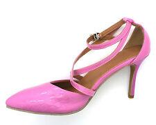 Para mujer UK 6 EU 39 Rosa Tacón Alto Zapatos Stiletto Nuevo Cuero Forrados Con Tiras