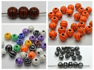 100 Sparkling Silver BasketBall Pattern Acrylic Round Beads 12mm Pick Your Color