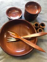 Nice Lot 6 Vintage Wooden Bowls - 1 Large & 6 Small Salad Bowls Fork Spoon