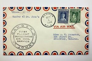 1942 Canadian First Flight Commemorative Covers Gander To St Johns Envelope 842B