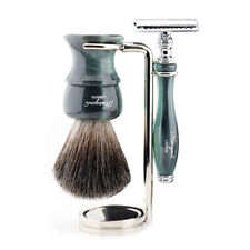 3 Pieces Resin Handle Shaving Kit, Safety Razor, Stainless Steel Stand & Brush