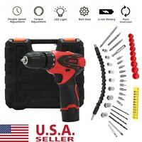 12V Cordless Combi Drill Driver Electric Battery Power Screwdriver With Bits Set