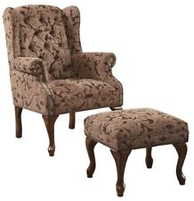 Traditional Button Tuft Wing Back Chair and Ottoman Set by Coaster - 3932B
