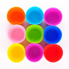 12x Silicone Round Cup Cake Muffin Cupcake Bakeware Cases Baking Moulds Tool New