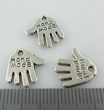 "30pcs Tibetan Silver ""Hand Made"" Hand Palm Charms Pendants 11x12.5mm"