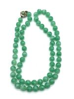 Vintage Peking Glass Bead Necklace Rhinestone Clasp Hand Knotted Jade Green B3