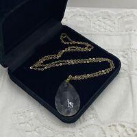 VINTAGE Glass Teardrop Pendant Necklace Gold Tone 50cm Chain Faceted Dowsing