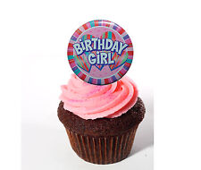 Birthday Girl Edible Cupcake Toppers, Pink Stand-up Fairy Cake Bun Decorations
