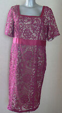 Berkertex Lace Guipure Dress Pink UK Size 14 Special Occasion Nes