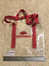 """Arkansas Razorback Clear Plastic Stadium Bag W/Handles. 12""""x12"""". Used Once."""