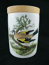 Portmeirion Birds of Britain CANISTER / STORAGE JAR with Wooden Lid - 4""