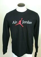 Nike Mens Air Jordan Jumpman LS Logo T Shirt Black White Red Size Large NWT
