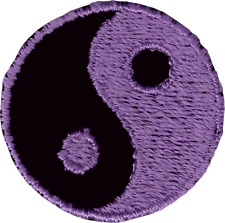 20117 Black & Purple Yin Yang Symbol Opposites Tao Embroidered Sew Iron On Patch