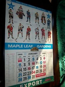 Export A Calendar page 1966-67 All-Star Team Photo Gordie Howe / Bobby Hull +