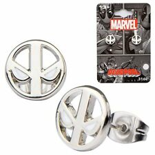 Deadpool Logo Stainless Steel Stud Earrings Silver Ear Rings Jewelry NIP