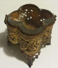Vintage Gold Finish FILIGREE SHAMROCK Shaped Beveled Glass Jewelry Box Trinkets