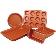 Copper Non Stick 5 Pc Cake Biscuit Muffin Oven Baking Tin Tray Pan Bakeware Set