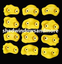Rock Holds Yellow Color Set of 12 W/hardware Rock Wall Climbing Rock Playground